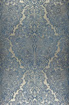 Wallpaper Perun Matt pattern Iridescent base surface Baroque damask Gold shimmer Dark blue