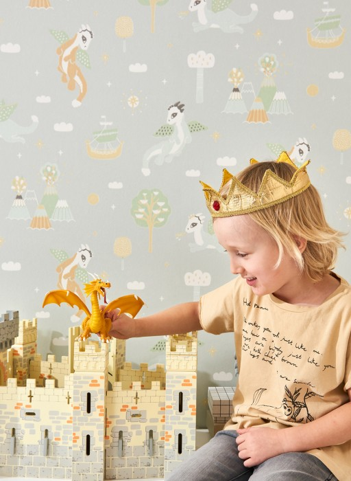 Wallpaper Magical adventure Hand printed look Matt Dragons Ships Stars Volcanoes Clouds White grey Pale green Brown beige Cream Light yellow Pastel green