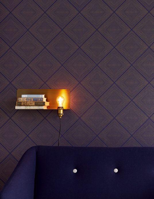 Art Deco Tapeten Tapete Rigo Saphirblau Raumansicht