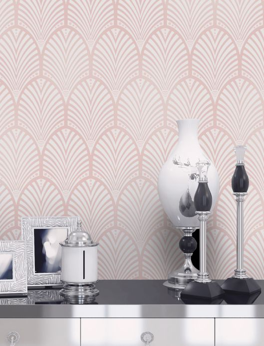 Glamorous  wallpaper Wallpaper Lyria pale pink shimmer Room View