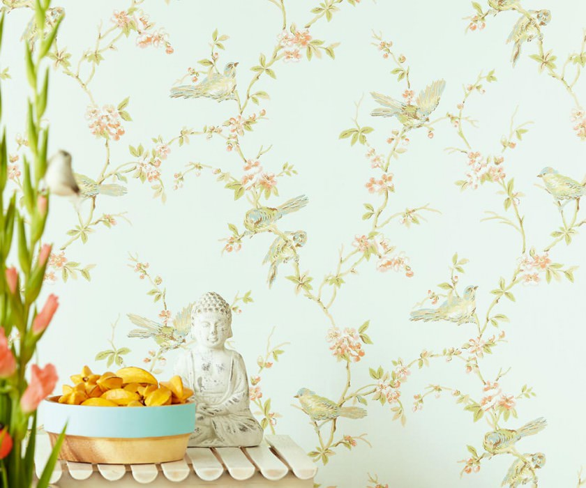 Wallpaper Thelma Hand printed look Matt Birds Branches with leaves and blossoms Green white Beige Blue Green Pastel orange Reed green