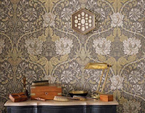 Papel pintado Penelope oro perla Ver habitación