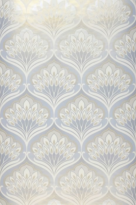 Wallpaper Perdula Matt pattern Iridescent base surface Floral damask Light grey Beige Cream