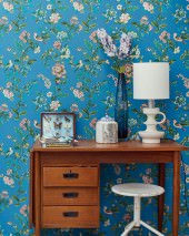 Wallpaper Miri Hand printed look Matt Flower tendrils Birds Blue Beige Dark blue Red Reed green Turquoise blue