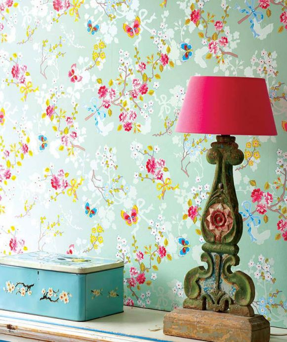 Floral Wallpaper Wallpaper Benina pastel green Room View