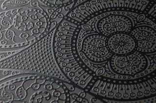 Papier peint Kassandra Mat Damassé floral Éléments géométriques Gris foncé Noir brillant
