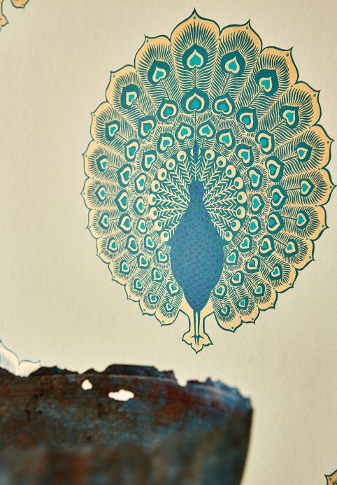 Animal Wallpaper Wallpaper Peacock Style pearl gold Room View