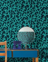 Wallpaper Oceane Matt Stylised corals Black blue Water blue