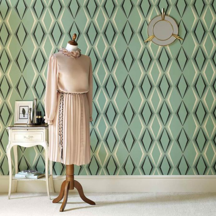 Wallpaper patterns Wallpaper Juno pale green Room View