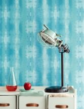 Wallpaper Alika Matt Looks like textile Batik style Stripes Pale turquoise Ocean blue Turquoise blue Water blue