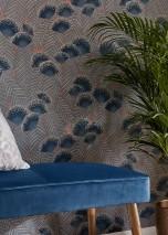 Papier peint Tambika Aspect impression à la main Mat Feuilles Fleurs Bois de rose Bleu ciel Gris bleu Blanc crème Bleu vert