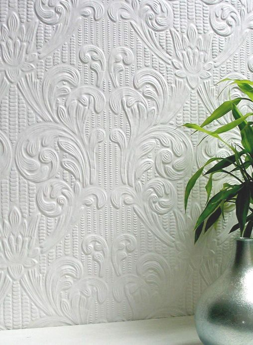 Damask Wallpaper Wallpaper Charles white Room View