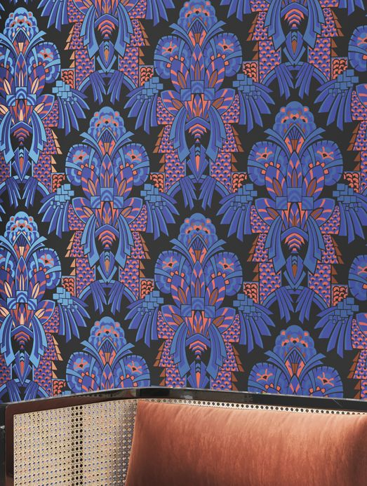 Art Deco Wallpaper Wallpaper Demetrius blue Room View