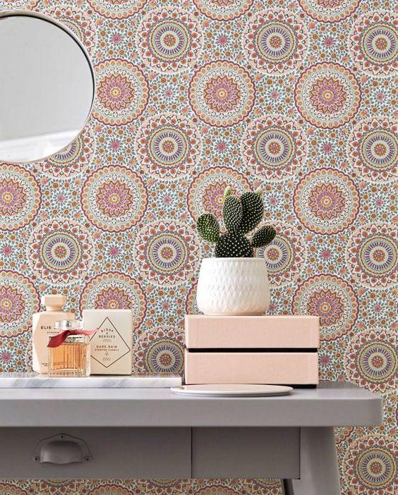 Scandinavian Wallpaper Wallpaper Avelina pastel orange Room View