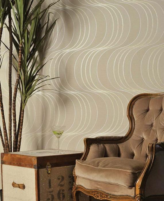 Papier peint Keiko Motif lustré Surface mate Vagues Beige Or brillant