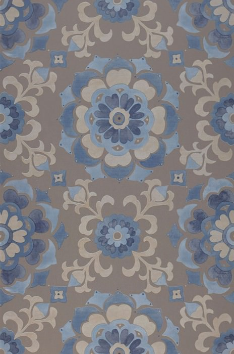 Wallpaper Saskia Matt Stylised blossoms Beige grey Dark blue Yellow grey Pastel blue