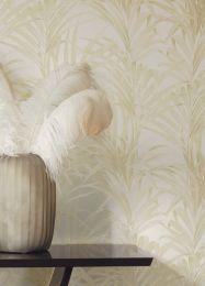 Papel de parede Palmetto creme brilhante