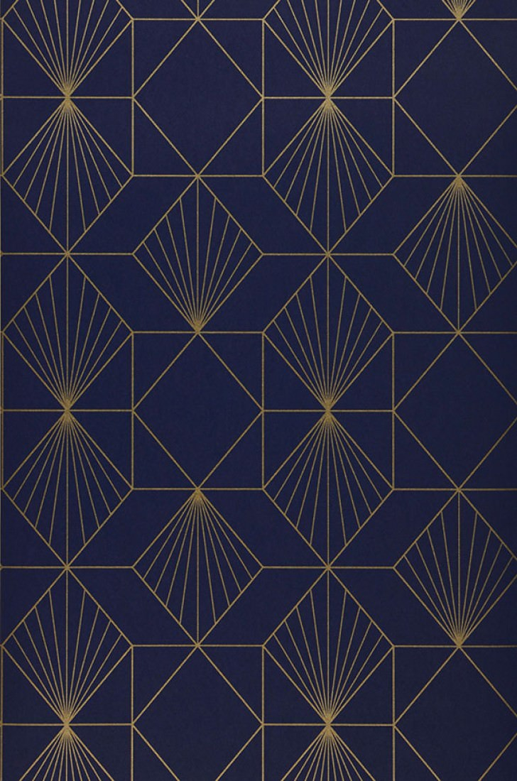 Wallpaper Maurus Night Blue Gold Wallpaper From The 70s