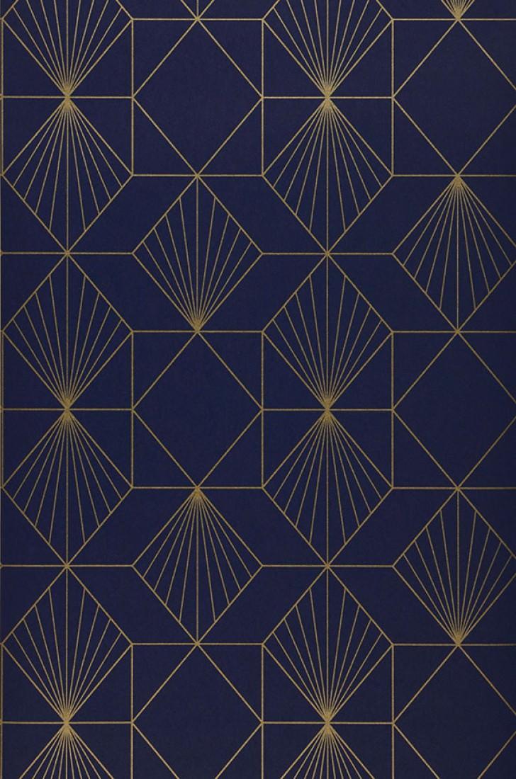 Maurus bleu nuit dor papier peint g om trique - Papiers peints des annees 70 ...