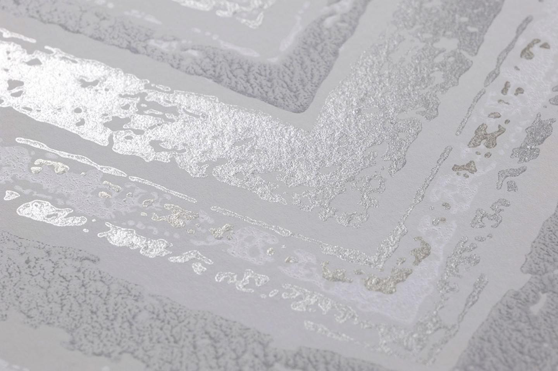 Carta da parati vittorio bianco grigiastro grigio beige for Carta parati argento