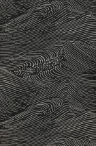 Wallpaper Ulevan Matt Waves Black grey Light ivory