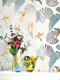 Papel pintado Colibri turquesa lustre