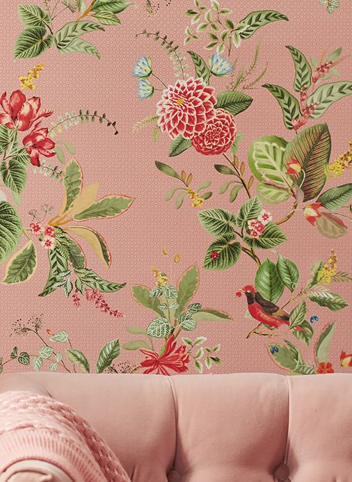 Floral Wallpaper Wallpaper Sylvania light pink Room View