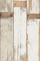 Wallpaper Scrapwood 02 Matt Shabby chic Imitation wood Cream Brown tones Light grey