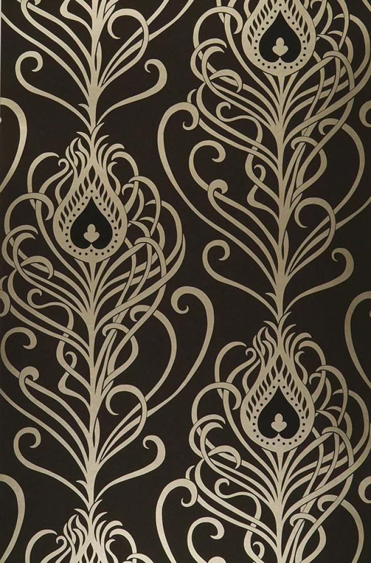 tapete elektra schwarz gold tapeten der 70er. Black Bedroom Furniture Sets. Home Design Ideas