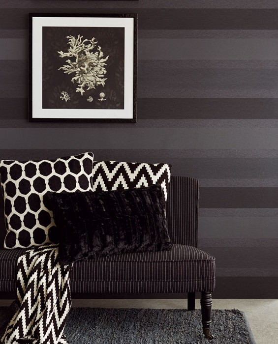Wallpaper Velda Matt Stripes Anthracite Graphite grey Black shimmer Black grey