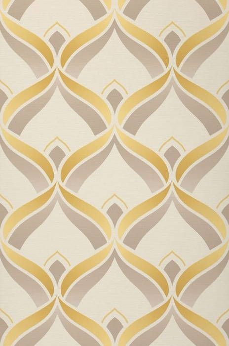 Wallpaper Angus Matt Retro ornaments Cream Beige grey Pale yellow Honey yellow