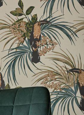 Tapete Toucan Jungle Cremeweiss Schimmer Raumansicht