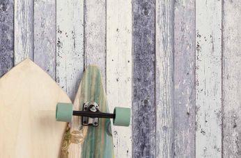 Wallpaper Old Planks grey blue