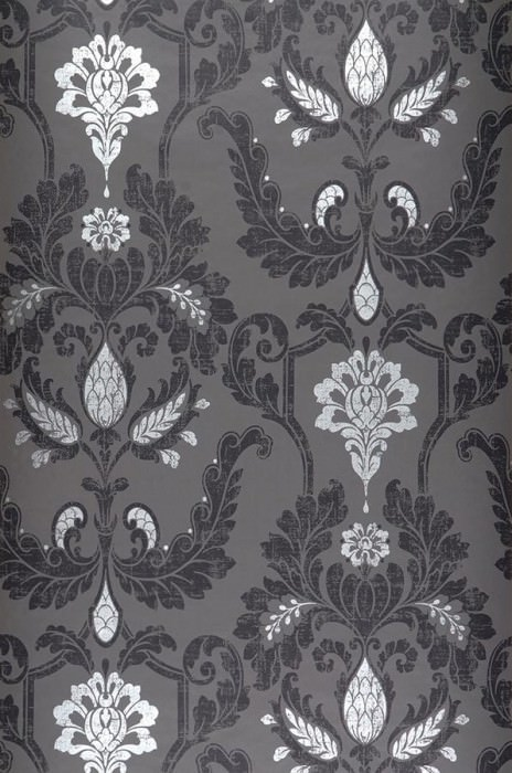 Wallpaper Livia Matt Baroque damask Dark grey Black Silver