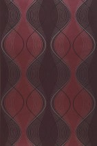Wallpaper Opoga Matt Wavy pattern Black red Pastel pink shimmer Ruby shimmer