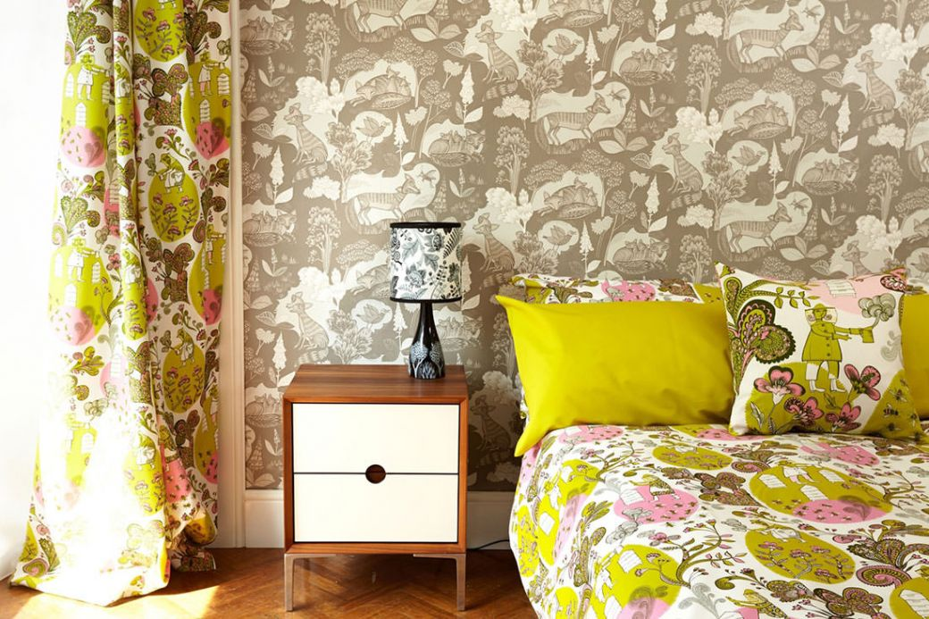 Archiv Wallpaper Fox family beige grey Room View