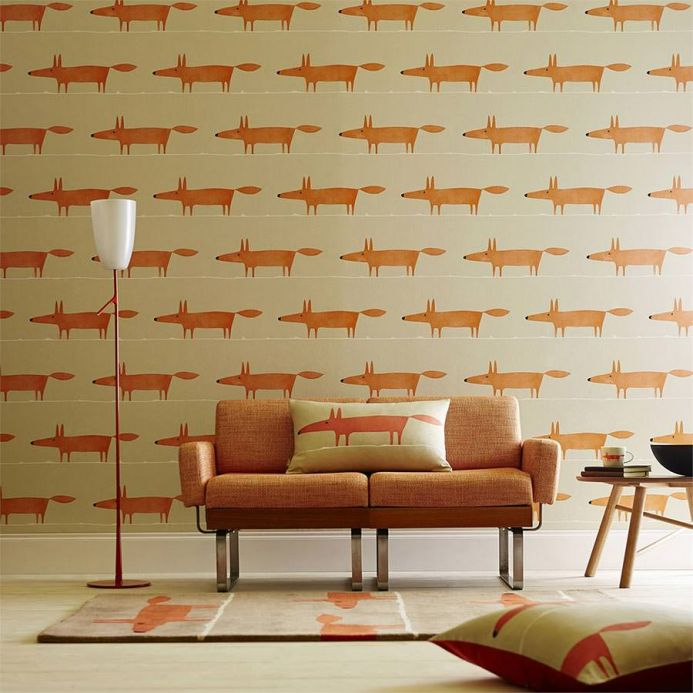 Design Tapeten Tapete What does the Fox say Rotorange Raumansicht