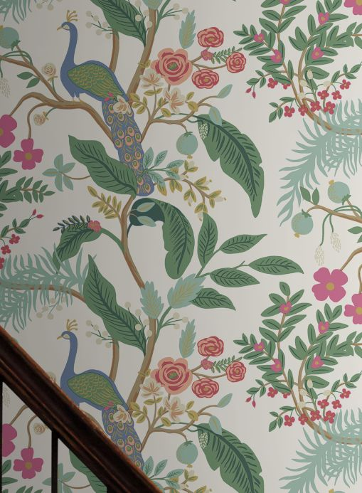 New arrivals! Wallpaper Peacock Tree pastel turquoise Room View