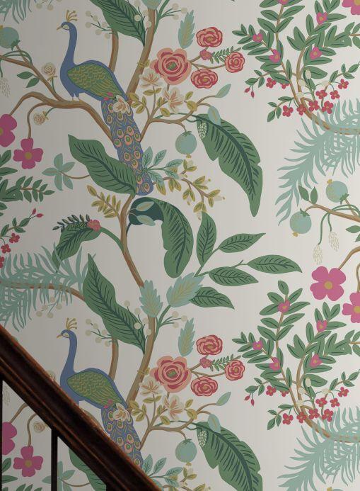 Papel pintado rústico Papel pintado Peacock Tree turquesa pastel Ver habitación