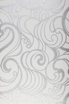 Papier peint Madina Motif chatoyant Surface mate Éléments graphiques Motif ondulé Blanc Argenté brillant