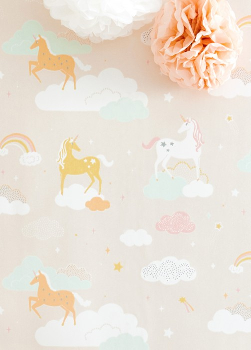 Wallpaper Rainbow treasures Hand printed look Matt Unicorns Rainbows Stars Clouds Pale pink Antique pink Cream Honey yellow Pastel orange Pastel green