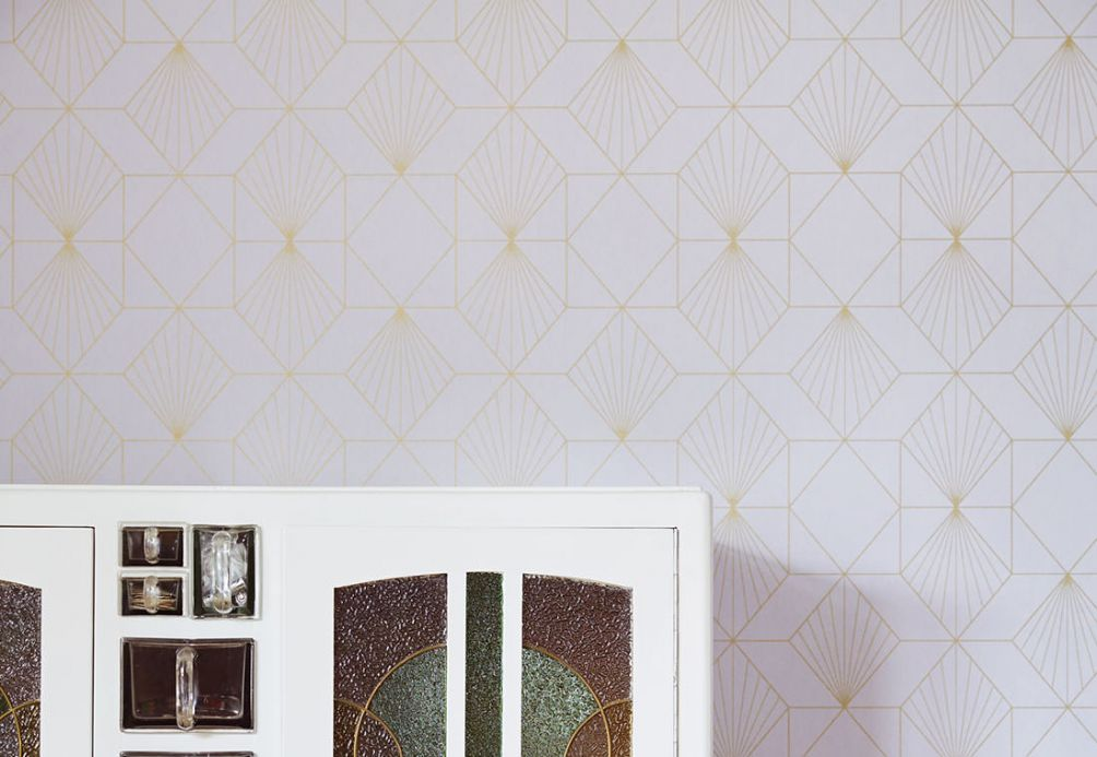 Geometric Wallpaper Wallpaper Maurus white grey Room View