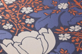 Wallpaper Marina Shimmering pattern Matt base surface Leaves Flowers Steel blue Pearl blue Pearlescent copper Silky grey
