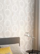 Wallpaper Florin Matt Geometrical elements Circular pattern Cream Light beige grey Light grey White