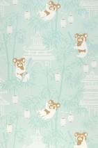 Carta da parati Bambu Effetto stampato a mano Opaco Foglie di bambù Edifici Lampioni Orsi panda Turchese pastello Bianco crema Turchese menta Marrone olivastro