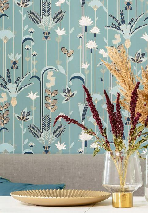 Art Deco Wallpaper Wallpaper Cordia mint turquoise Room View