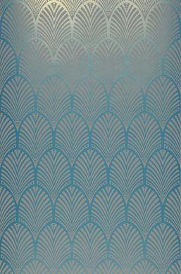 Papier peint Lyria bleu turquoise chatoyant Largeur de lé