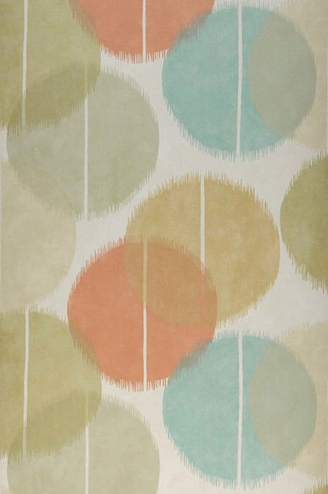 Wallpaper Loris Matt Graphic elements Balls Cream Beige red Ivory Green beige Mint turquoise Sand yellow