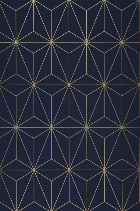 Papel pintado geométrico Papel pintado Morton azul acero Bahnbreite