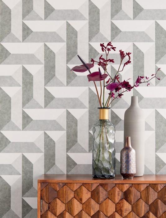 Papier peint Rekel Mat Éléments géométriques Tons de gris Blanc